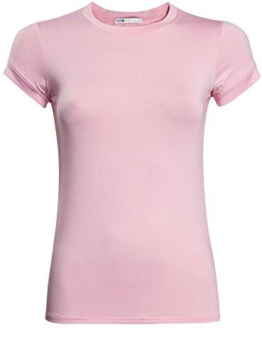 oodji Ultra Mujer Camiseta de Silueta Recta con Cuello Redondo Rosa (4000N)