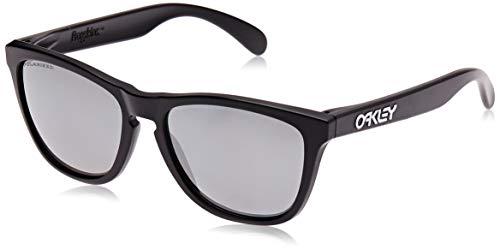 Oakley Men's OO9013 Frogskins Square Sunglasses, Matte Black/Black Iridium Polarized, 55 mm (Oakleys Frogskin)