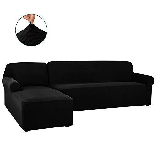 CHUN YI 2 Pieces L-Shaped Left Chaise Jacquard Polyester Stretch Fabric Sectional Sofa Slipcovers Dust-Proof L Shape Corner 2 Seats Sofa Cover Set for Living Room (Black)
