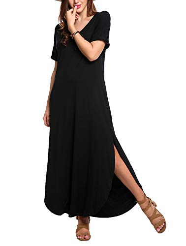 Meaneor Womens Plain V Neck Casual Long Slit Dress Cover Up Puffy Short Sleeve Split Loose Slit Tshirt Maxi Dresses with Pockets Black Small