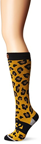 ThirtyTwo Womens Cheetah Snowboard Socks, Gold, Small/Medium