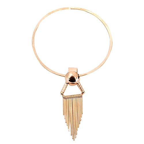 (Haluoo Simple Alloy Tassel Chocker Necklace Fashion Triangle Beaded Fashion Necklaces Jewelry Gift for Women Girls (Gold))