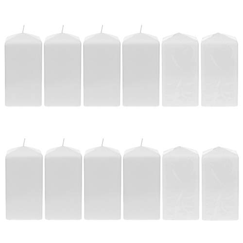 "Mega Candles 12 pcs Unscented White Dome Top Square Pillar Candle | Economical One Time Use Event Wax Candles 3"" x 6"" 