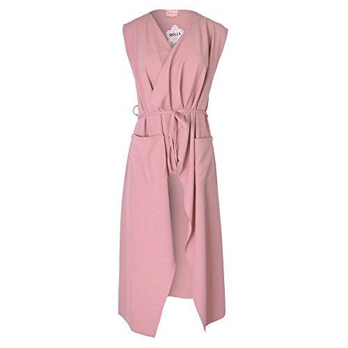 Zymalmaya Womens Ladies Maxi Sleeveless Waterfall Belted Duster Coat/Jacket Rose Pink