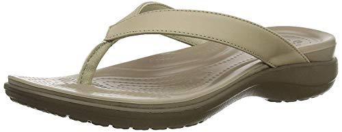 Crocs Women's Capri V Flip Flop, Chai/Walnut, 9 M US