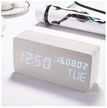 Reloj Despertador Led De Madera Control De Voz Control Electrónico De Escritorio Reloj Digital para Niños Alarma De Cabecera Reloj F: Amazon.es: Hogar