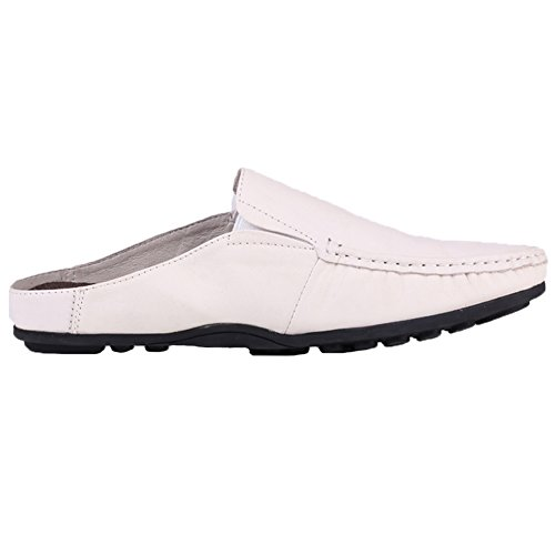 Santimon Slippers Mules Clog Men Classical Comfortable Leather Slip on Shoes Casual Loafers White w0CkyvV