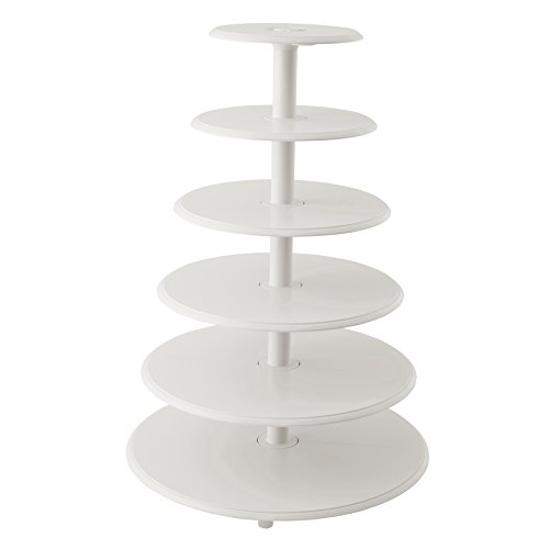 Wilton Towering Tiers Cupcake and Dessert Stand, Great for Displaying Cupcakes, Danishes and Your Favorite Hors d'Oeuvres, White, 3-foot, 28-Piece (Rustic Wood Cupcake Stand)