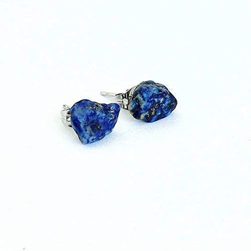 (White Gold Lapis Lazuli Earrings - Men's and Women's Natural Crystal Studs - December Birthstone)