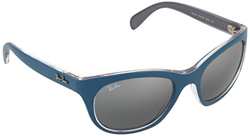 Ray-Ban INJECTED WOMAN SUNGLASS - MATTE PETROLEUM/GREY Frame GREY MIRROR SILVER GRADIENT Lenses 56mm Non-Polarized