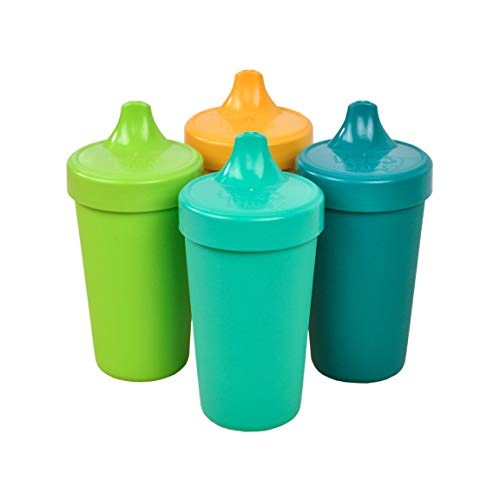 (Re-Play Made in The USA 4pk No Spill Sippy Cups for Baby, Toddler, and Child Feeding - Aqua, Sunny Yellow, Lime Green, Teal (Aqua Asst+))