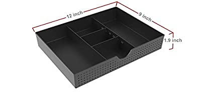 CAXXA 3 Slot Drawer Organizer with Two Adjustable Dividers - Drawer Storage Organizer Divider for Office Desk Supplies and Accessories, Black
