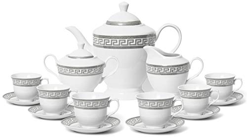 - Royalty Porcelain 17-pc Tea Set for 6, Czech Porcelain (Elegant Silver)