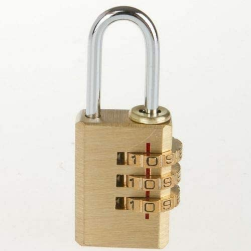 Amazing Gift SMALL COMBINATION PADLOCK Solid Brass 3 Digit Lock Holiday Security Suitcase//Bag