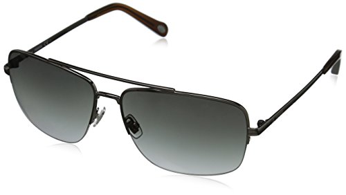 Fossil FOS3034S Rectangular Sunglasses, Light Ruthenium & Gray Gradient, 60 - Sunglasses Fossil Mens