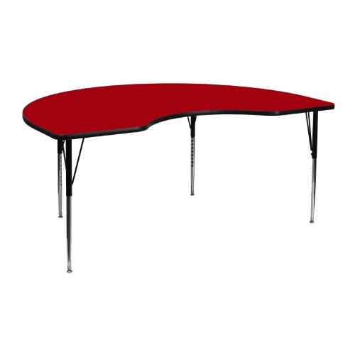 Flash Furniture 48''W x 72''L Kidney Red Thermal Laminate Activity Table - Standard Height Adjustable Legs
