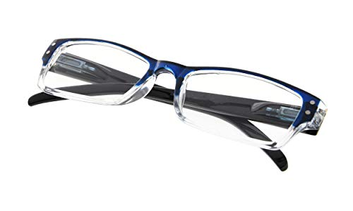 (READING GLASSES Spring Hinge Comfort Readers Men and Women Glasses for Reading Blue Frame +1.5)