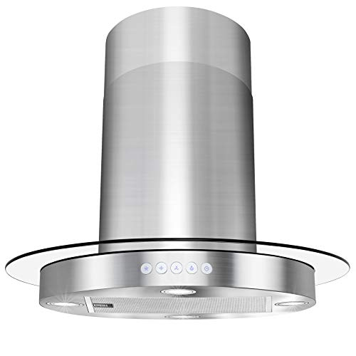 AKDY Island Mount Range Hood -30″ Stainless-Steel Hood Fan for Kitchen – 3-Speed Professional Quiet Motor – Premium Push Control Panel – Minimalist Design – Mesh Filter & LED Lamp