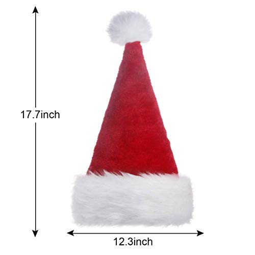 Santa Claus Hat for Christmas Adults,Unisex Velvet Comfort Christmas Hats Extra Thicken Classic Fur for Christmas New Year Festive Holiday Party Red