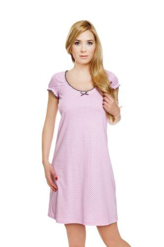 Italian Fashion lencería algodón, manga larga camisola mujer uñas Nightdress pijama Rosa