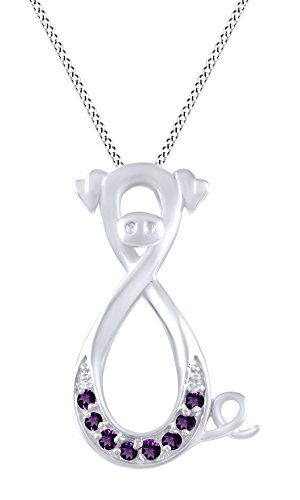 AFFY Simulated Amethyst Pig Infinity Pendant Necklace in 14K White Gold Over Sterling Silver