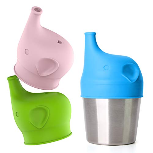 Silicone Sippy Cup Lids - Perfect Transition from Baby Bottle to Kids Cup, Stretchable Lids fit Many Kinds of Toddler Cups (3 Replacement Silicone Lids and 1 Stainless Steel Cup)