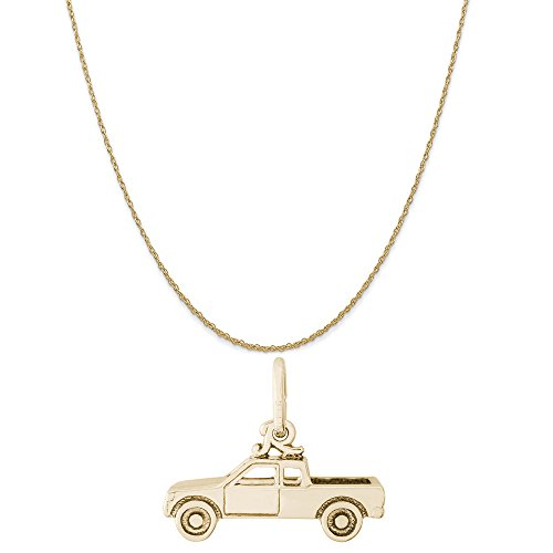 Rembrandt Charms 14K Yellow Gold Pick Up Truck Charm on a 14K Yellow Gold Rope Chain Necklace, - Gold 14k Charm Truck