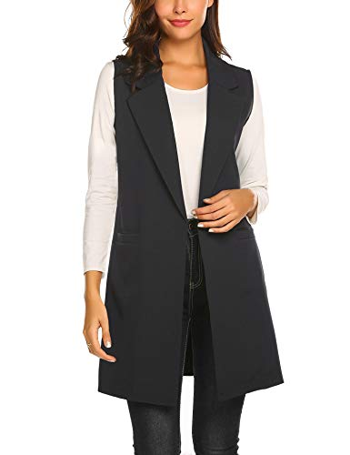 Showyoo Women's Long Sleeveless Duster Trench Vest Casual Lapel Blazer Jacket Black M