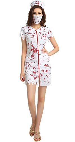 TC-Fashion Zombie Nurse Halloween Costume Women Dress, Nurse