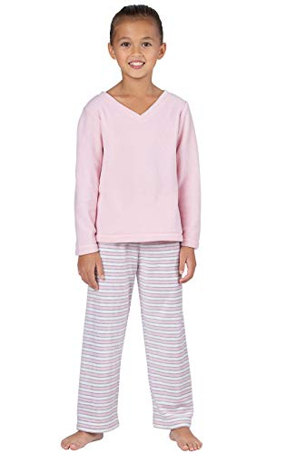 Stripe Waist Fleece Pant - PajamaGram Snuggle Fleece Girls Pajamas - Pink Stripes 14
