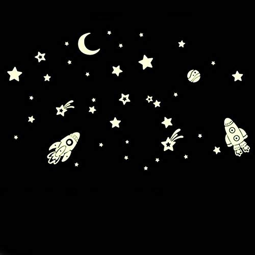 Little Story  Wall Sticker, DIY Luminous PVC Wall Sticker Glow in The Dark Space Stars Planet Rocket Kids