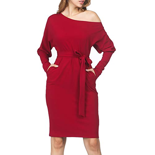 ORICSSON Women Casual Long Sleeve Party Fall Mini Dress with Pockets Red