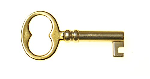 KY-18 SMALL FURNITURE KEY SOLID BRASS REPRODUCTION ANTIQUE KEY + FREE BONUS (SKELETON KEY BADGE) ()