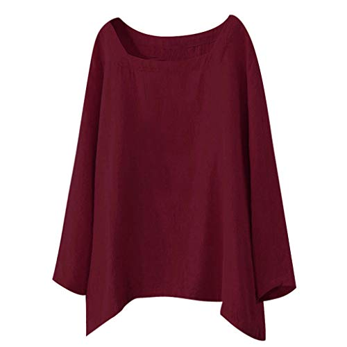 POQOQ Blouse Women Casual Long Sleeve Round Neck