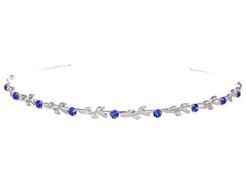 - Flexible Elegant Vine Design Headband Tiara - Saphire Blue Silver Plated T108