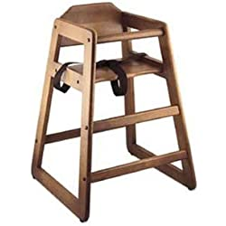 Baby High Chair 27-1/4'' high walnut wood finish wide stance unassembled