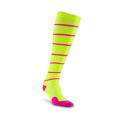 PRO Compression: Marathon (Full-Length, Over-the-Calf) Compression Socks, Neon Yellow Swirl, Large/X-Large -