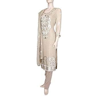 Shabnam Beige Casual Kameez & Salwar Set For Women