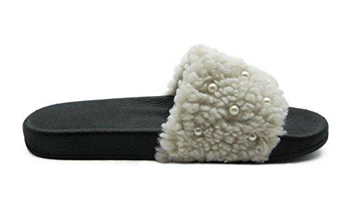 Fashion Blue Trendy Cute Color Womens Furry Fur Slide Ivory W/ Artificial Pearl 5VVQAXB0PD