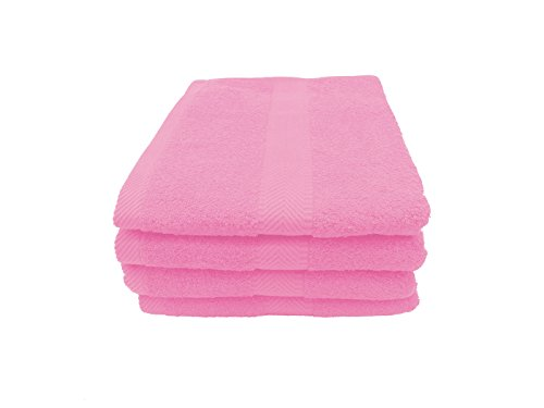 robesale Terry Absorbent Bath Towels, Pink, Set of 4 Hot Pink Bath Towels