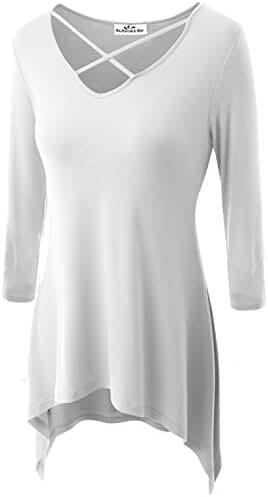 Zerdocean Women's Modal 3/4 Sleeve Crisscross V Neck Tunic Top (Plus Size Available)