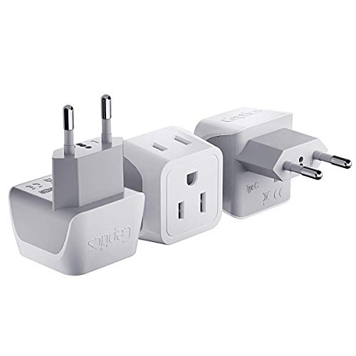 European Travel Plug Adapter by Ceptics Europe Power Adaptor Charger Dual Input - Ultra Compact - Light Weight - USA to any Type C Countries such as Italy, Iceland, Austria and More (CT-9C), white