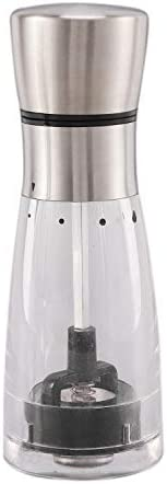 Xigeapg 2個/セット ペッパー海塩グラインダー 手動キッチンスパイスミル 5ギア位置調整可能なペッパーミル 磁器粉砕機
