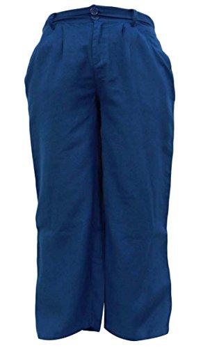 Las mujeres usan Harem pijamas de algodón pantalones de las bragas Boho gitanas abajo pantalón Bleu