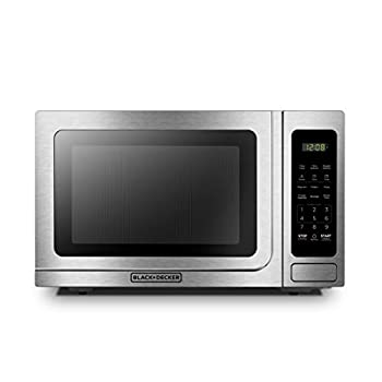 Image of BLACK+DECKER EM036AB14 Digital Microwave Oven with Turntable Push-Button Door,Child Safety Lock,1000W,1.4 cu.ft,Stainless Steel