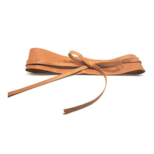 - Women Bowknot Leather Belt Soft Wide Self Tie Wrap Around Waist Band (Light tan)