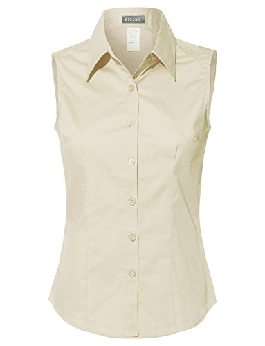 LE3NO Womens Lightweight Cotton Sleeveless Button Down Shirt Ivory ()