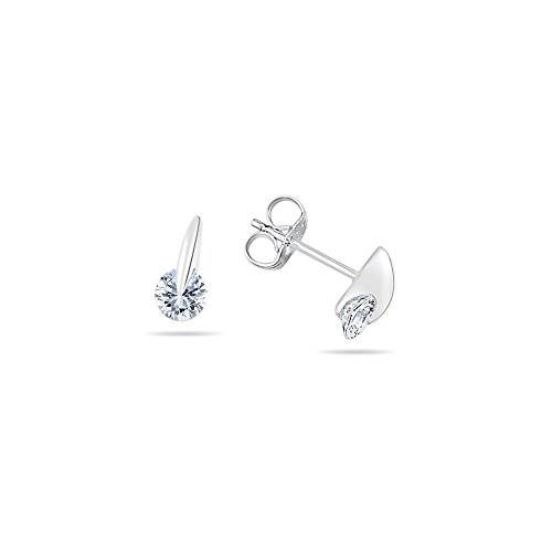 (Cubic Zirconia Tension Set Round Earrings in Silver)