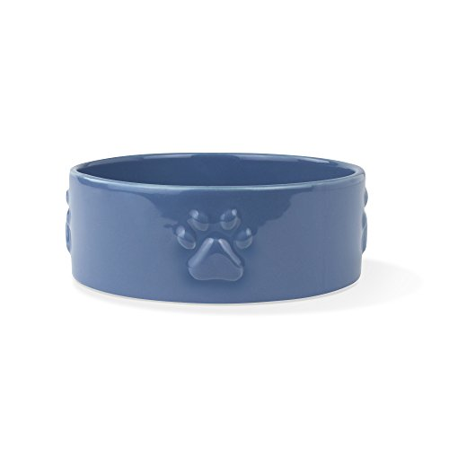 FRINGE STUDIO Sculpt Paw Navy Medium Sculpted Bowl - Pet Ceramic Bowl Studio