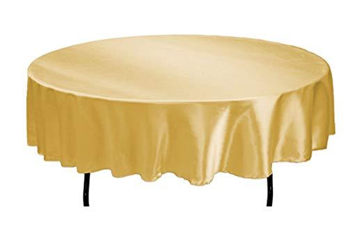 Tektrum 70 INCH Round Silky Satin Tablecloth - Premium Fabric (Gold)